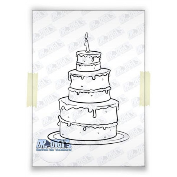 Birthday Cake digital stamp