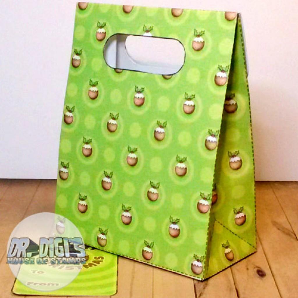 Gift Bag Template Christmaspud Xmas Pudding Holly